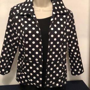 Polka Dot Blazer Black and White Size Medium